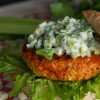 Buffalo Chicken Burger with Celery Blue Cheese Topping