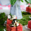Watermelon Caprese Cups with Balsamic Glaze