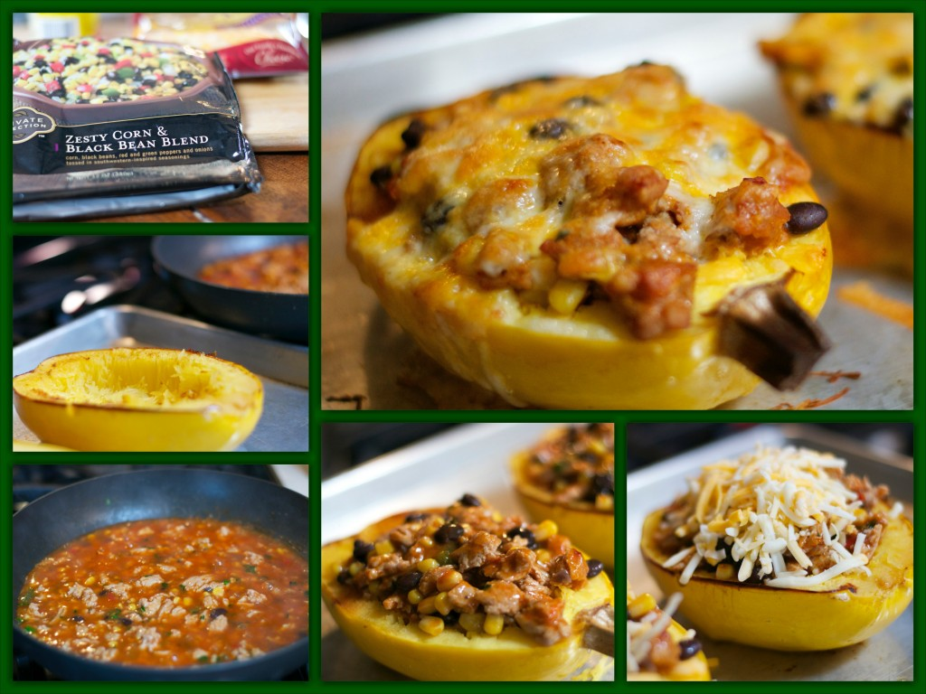 Chicken Enchilada Stuffed Spaghetti SquashCollage