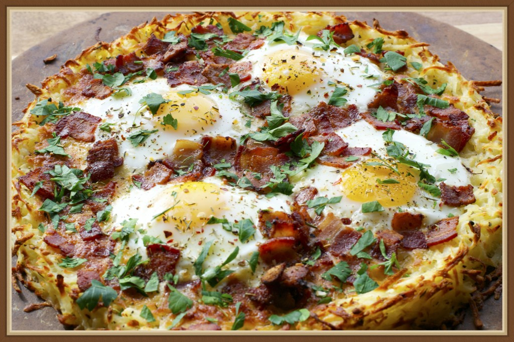 ... hot from the oven breakfast pizza. Potato Crusted Breakfast Pizza