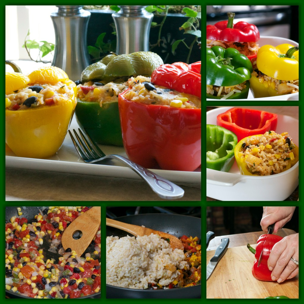 Mexican Meatless Stuffed Peppers Collage