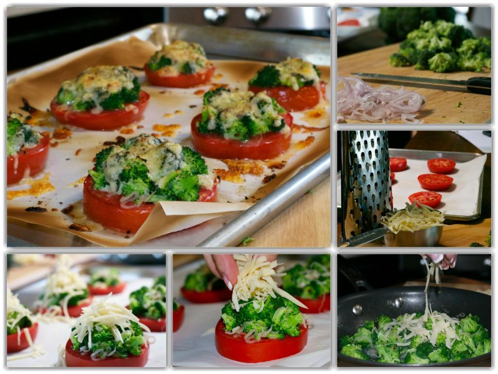 Broccoli Tomato Stacks Collage