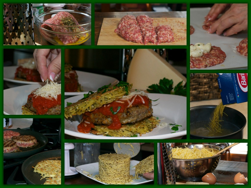 Italain Spaghetti and Meatball Burger Collage