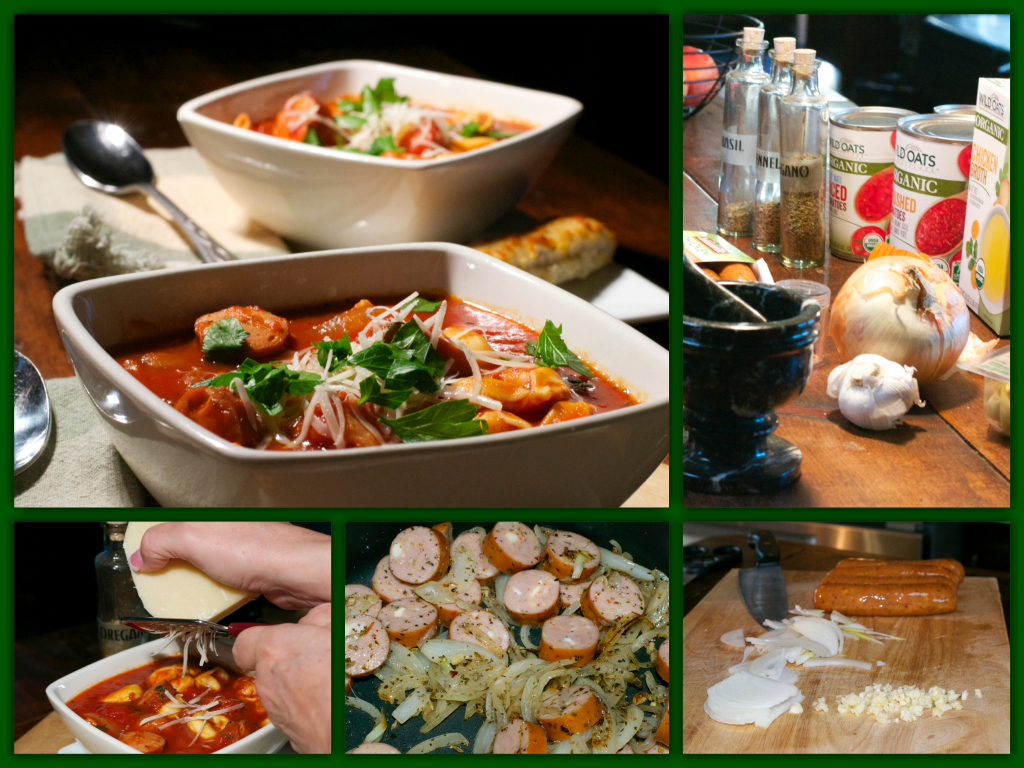 Italian Tortellini Soup Collage