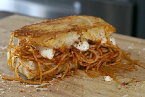 Grilled Spaghetti and Cheese