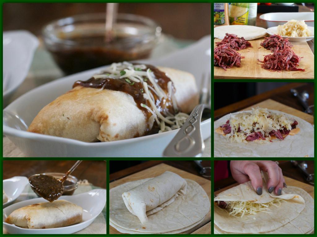 Rueben Burrito with Guinness Gravy Collage
