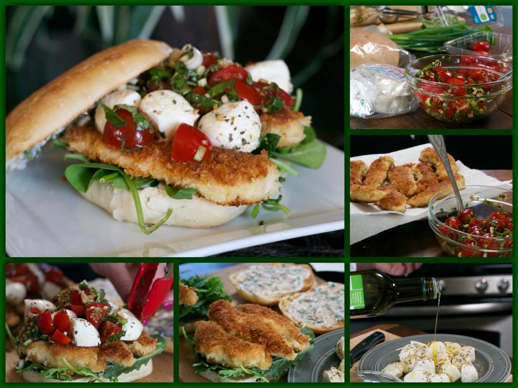 Caprese Chicken Tender Sandwich Collage