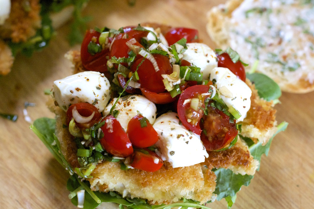 Open Faced Caprese Chicken Tender Sandwich
