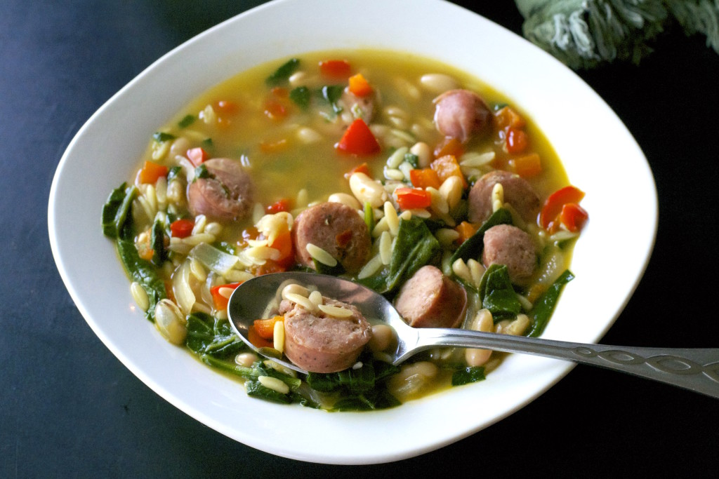 Chicken Sausage Orzo Soup 4