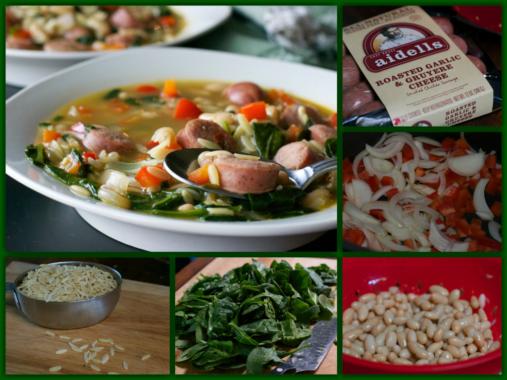 Chicken Sausage Orzo Soup Collage