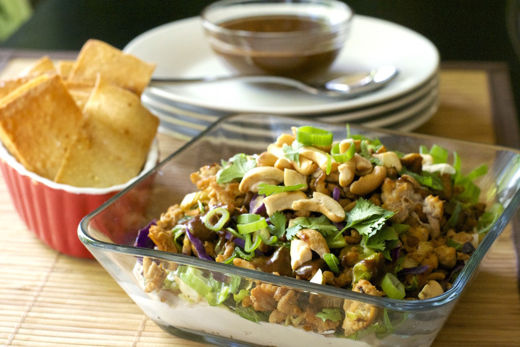 Layered Oriental Chicken Dip with Wonton Chips