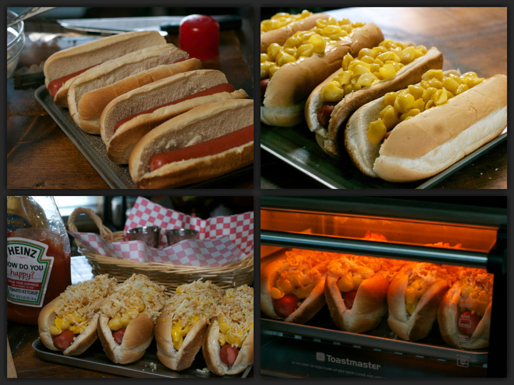 Crunchy Topped Mac & Cheese Dogs Collage
