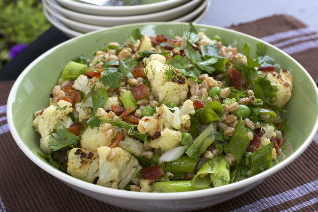 Farro Cauliflower Bacon Salad