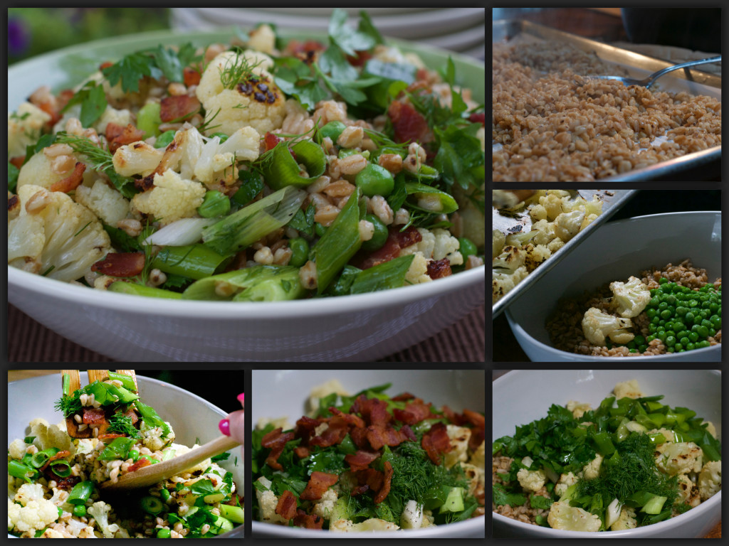 Farro Cauliflower Bacon Salad Collage