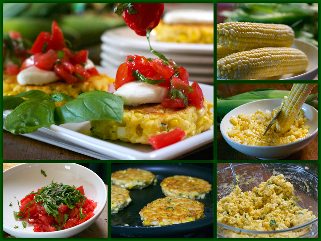 Caprese Corn Cakes Collage