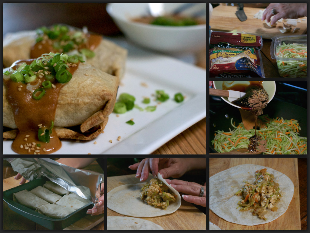 Chicken Teriyaki Burritos with Spicy Peanut SauceCollage
