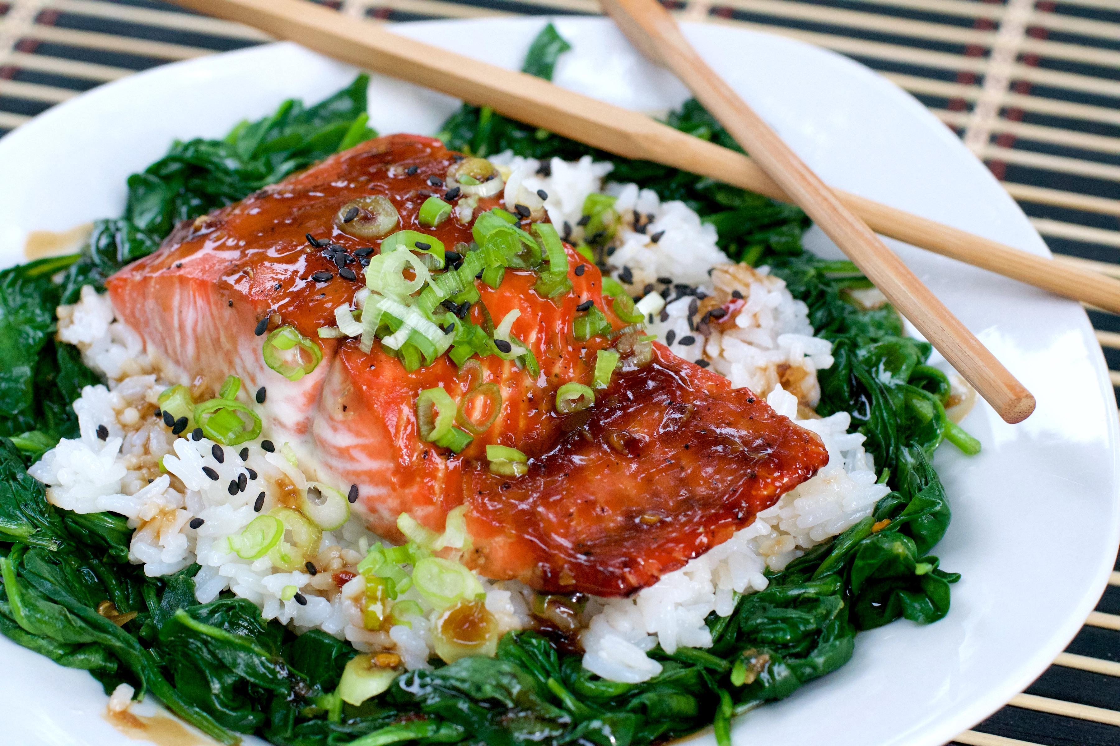 Glazed Salmon Rice Bowl - What the Forks for Dinner?