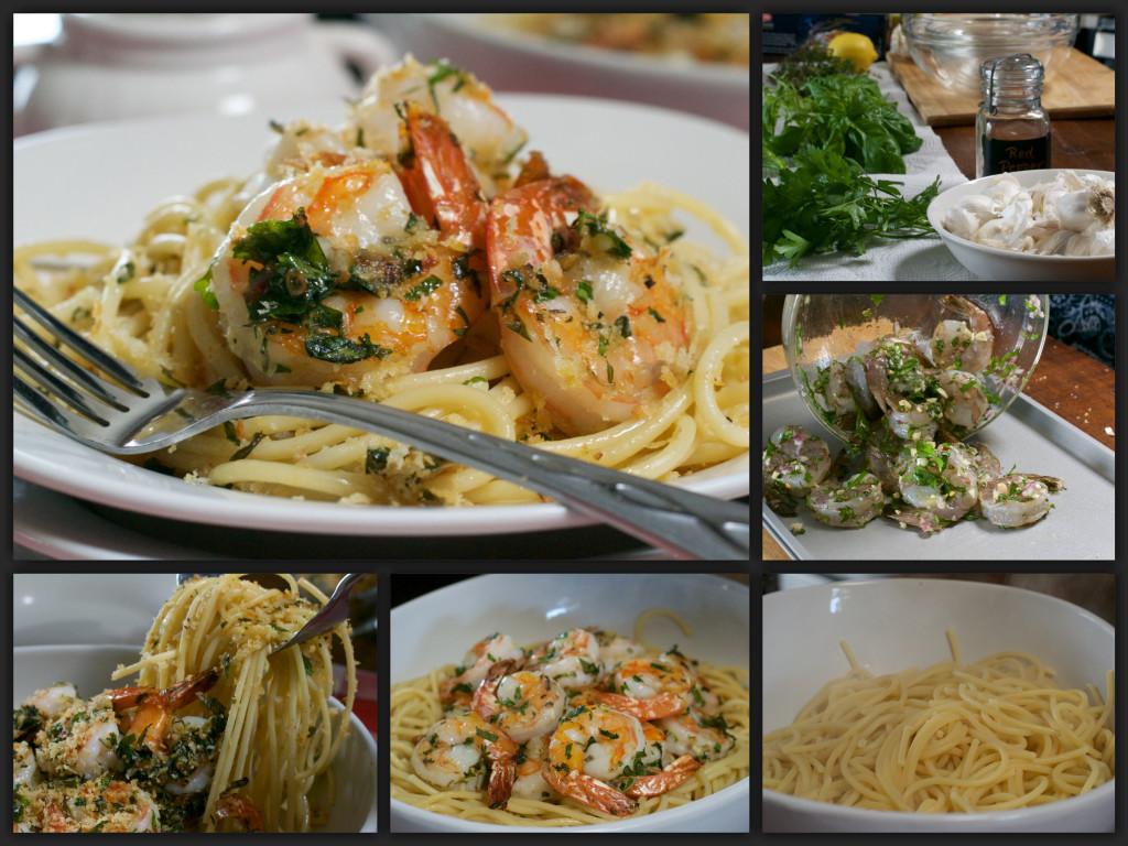 Herb Shrimp & Pasta with Crispy Crumbs Collage