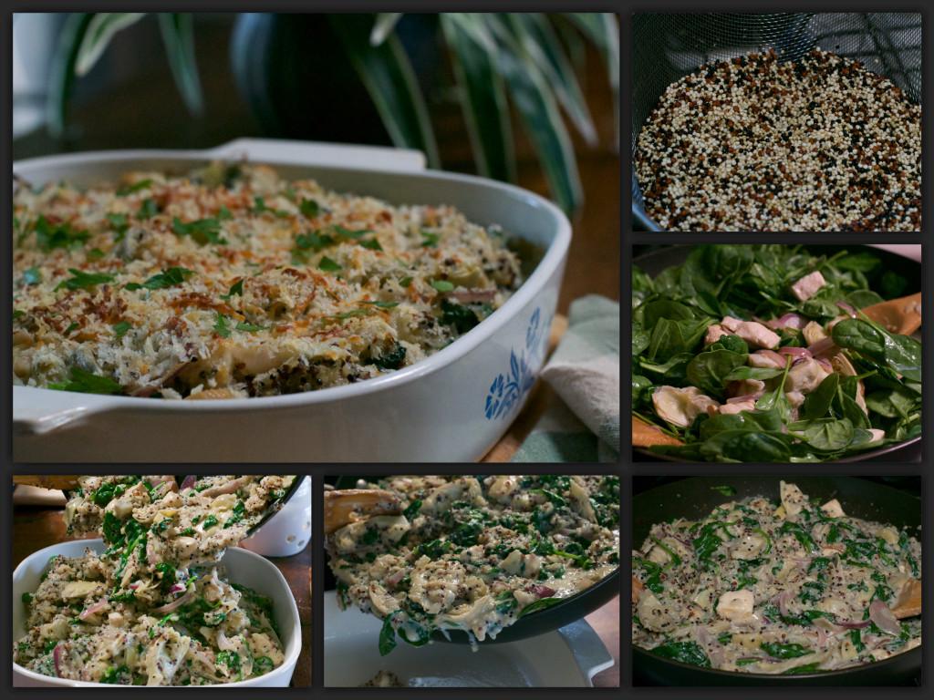 Spinach Artichoke Quinoa Casserole Collage