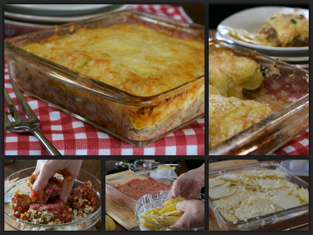 Scalloped Meatloaf Casserole Collage