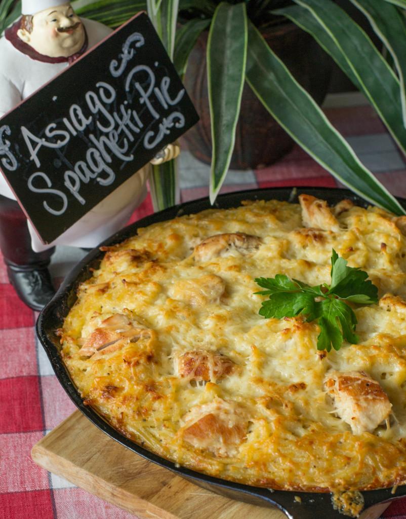Asiago Spaghetti Pie
