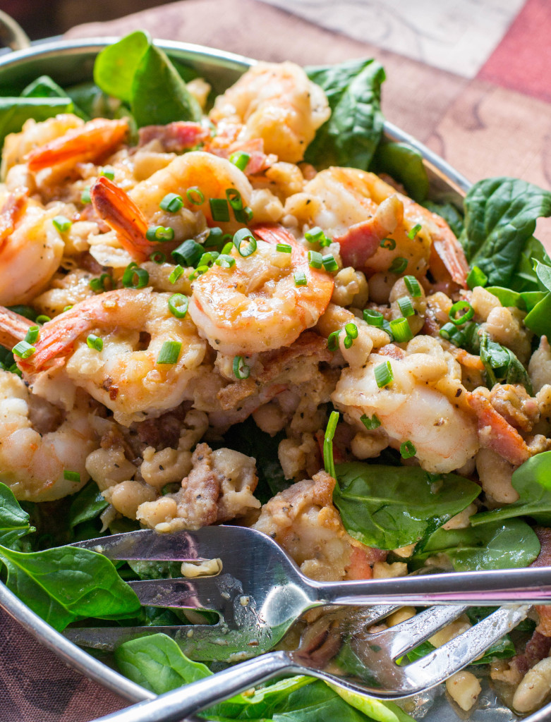 Warm Shrimp White Bean Spinach Salad