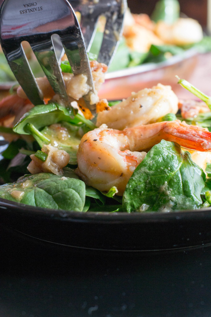 Warm Shrimp White Bean Spinach Salad 1