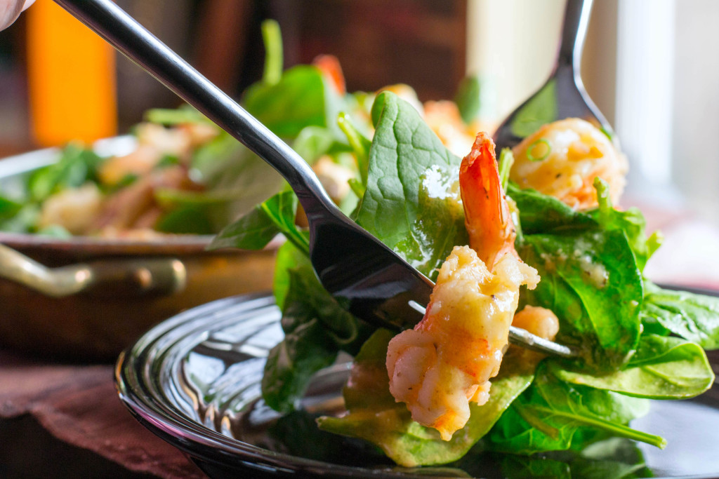 Warm Shrimp White Bean Spinach Salad 2