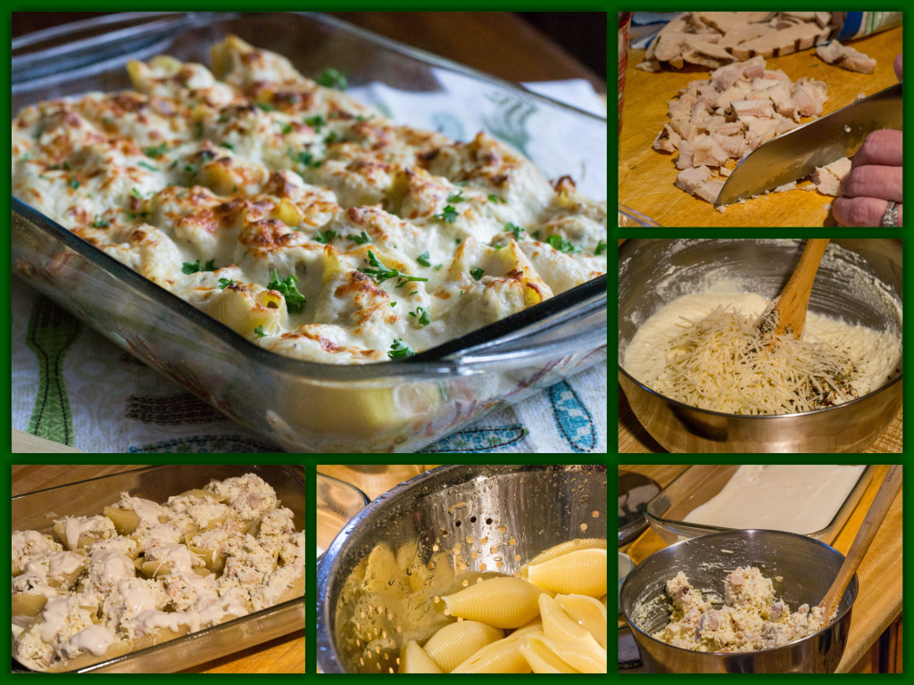 Chicken Alfredo Pasta Shells Collage