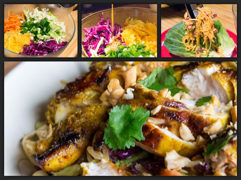 Chicken Satay Spaghetti Squash Salad Collage