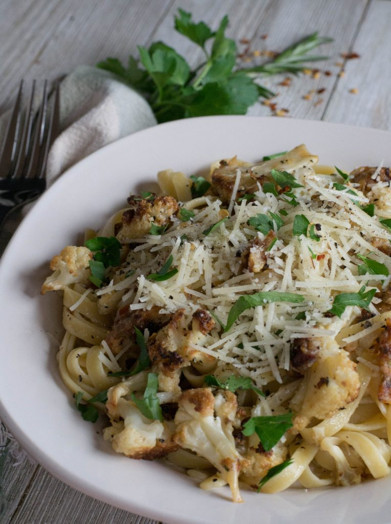 Roasted Cauliflower Fettuccine with Bacon