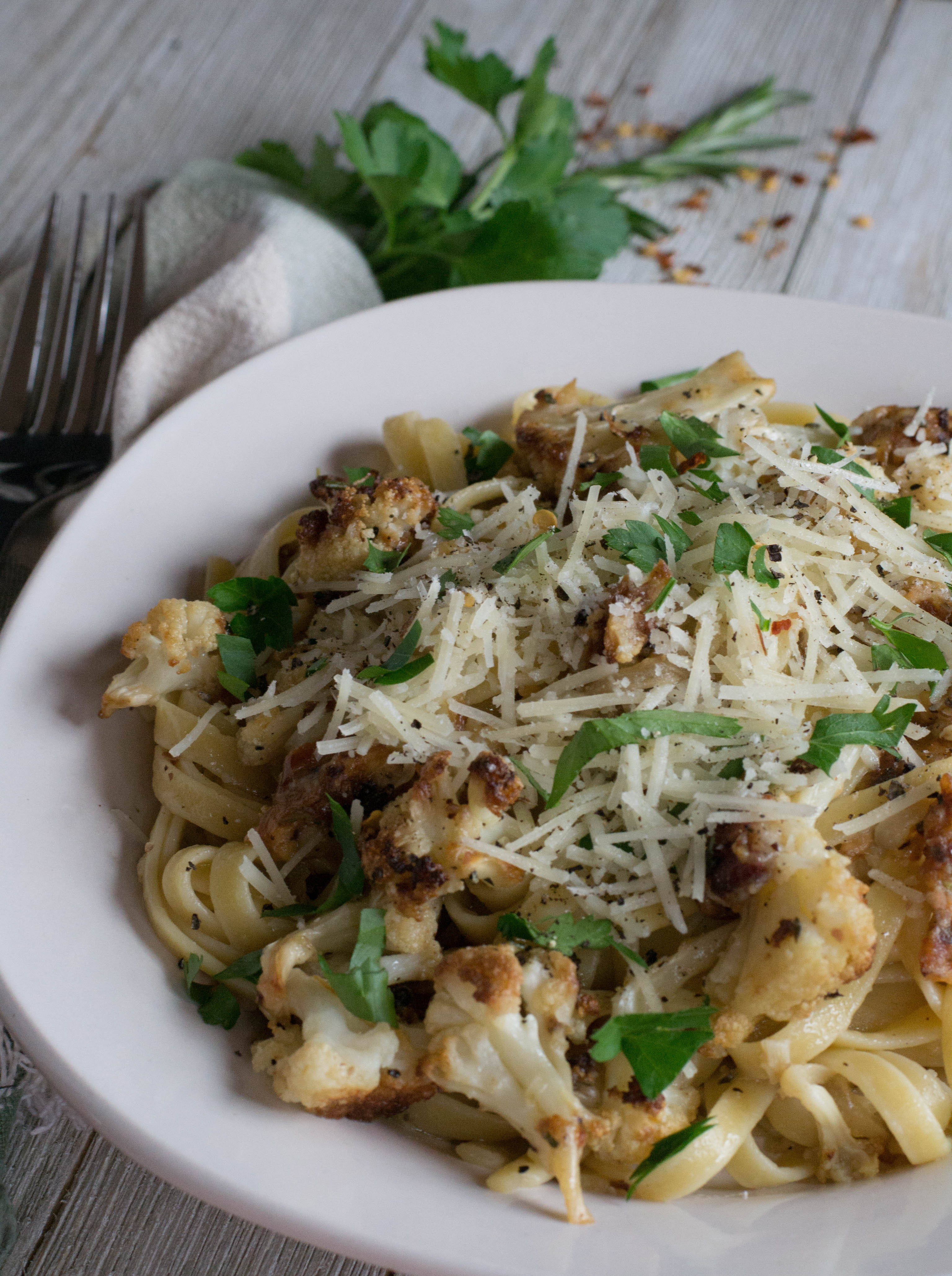 Roasted Cauliflower Fettuccine with Bacon - What the Forks ...
