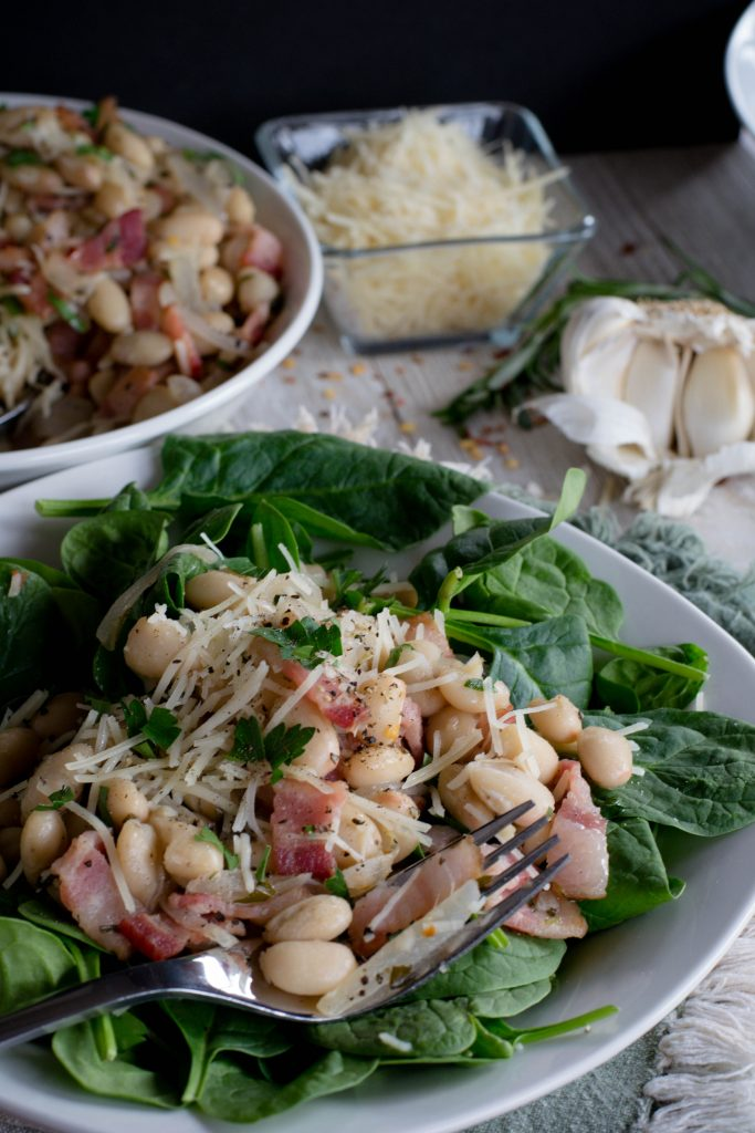 Cannellini Bean Bacon Spinach Salad