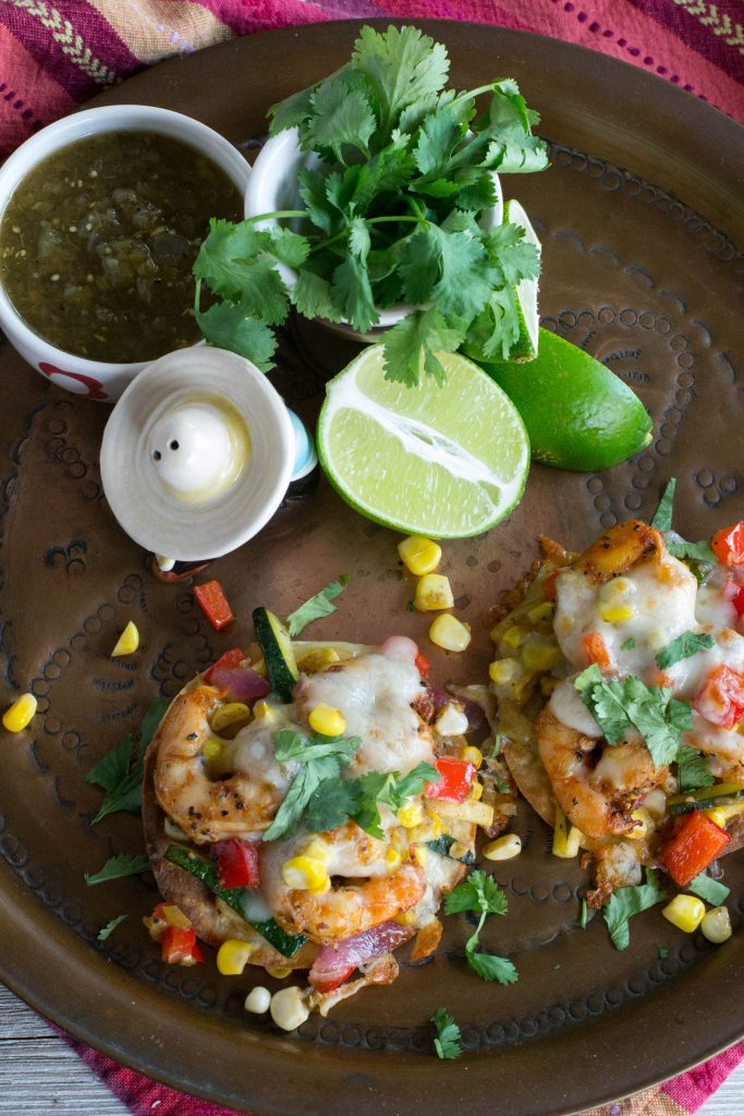 Spicy Shrimp Veggie Tostadas