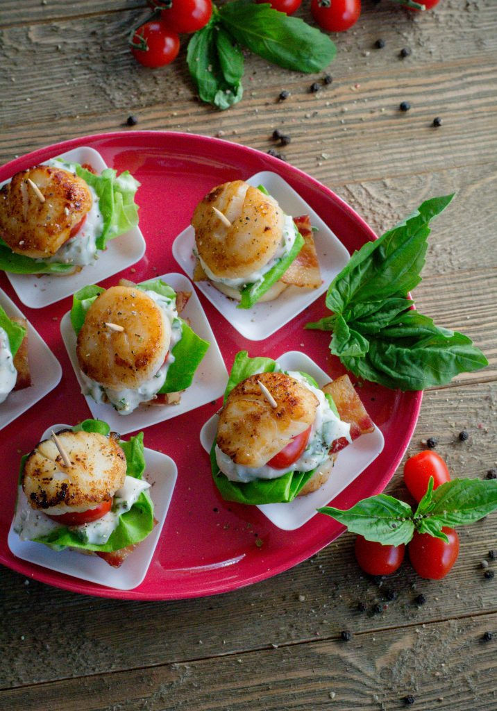 BLT Scallop Stacks with Basil Mayo