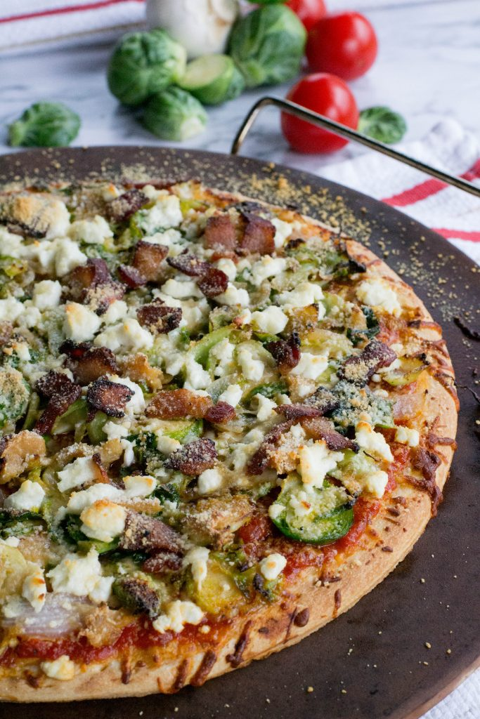 Brussels Sprouts Goat Cheese Bacon Pizza