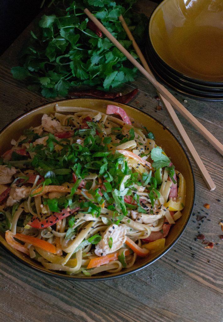 Asian Chicken Peanut Noodles