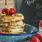 Raspberry Greek Yogurt Pancakes with Homemade Vanilla Syrup