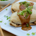 Chicken Teriyaki Burritos with Spicy Peanut Sauce
