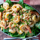 Warm Shrimp White Bean Spinach Salad
