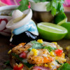 Spicy Shrimp Veggie Tostadas