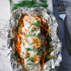 Creamy Dill Salmon Shrimp Foil Packs