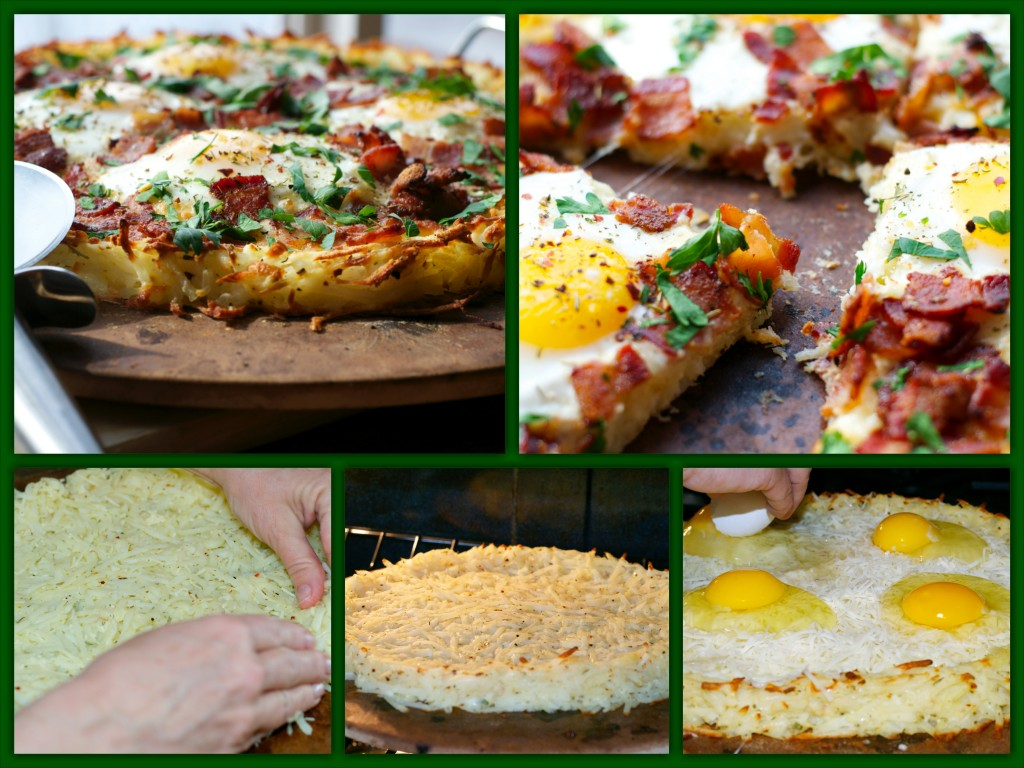 Potato Crust Breakfast Pizza Collage