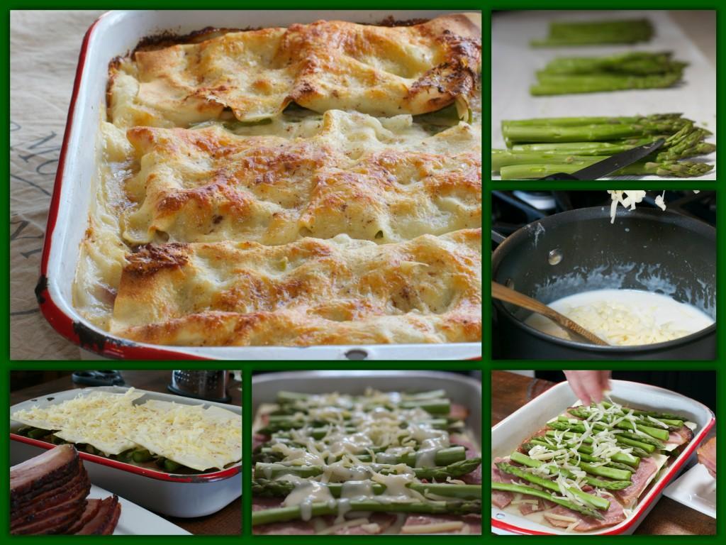 Asparagus Ham Lasagna Collage