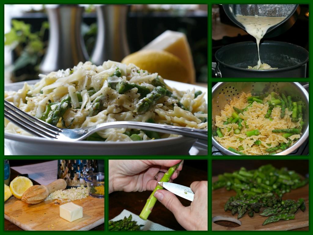 Springtime Asparagus Pasta Collage