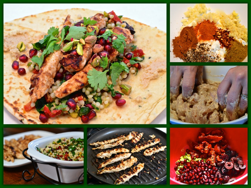 Middle Eastern Chicken Couscous Wrap Collage
