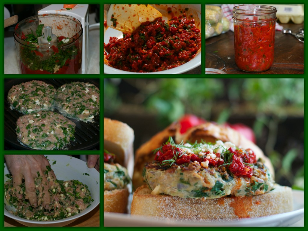 Spinach Feta Burger Collage