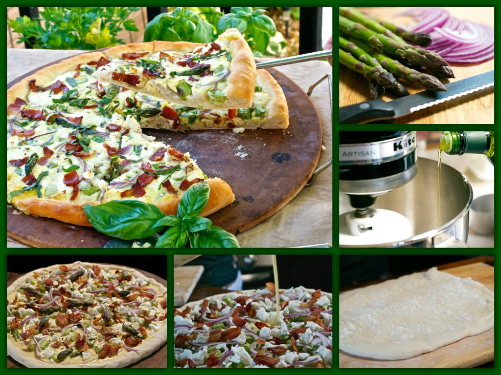 Asparagus Goat Cheese Pizza Collage