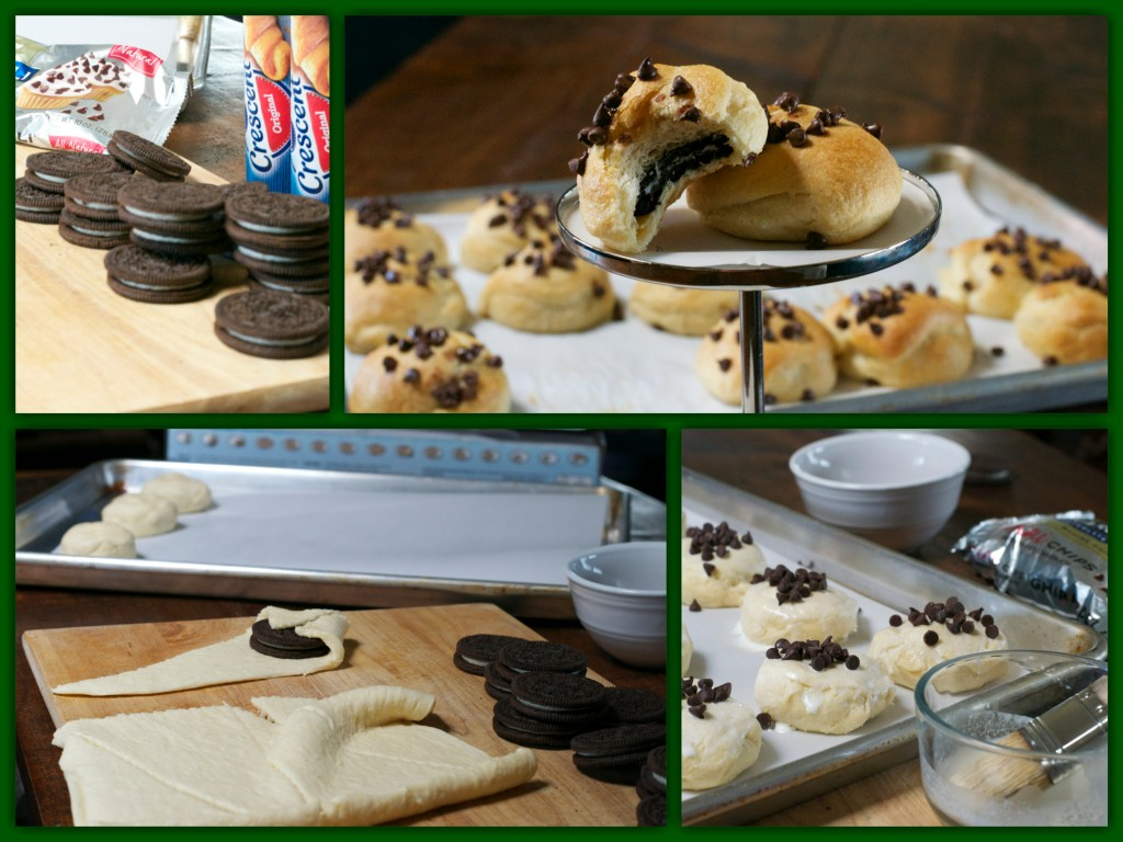 Oreo Stuffed Crescents Collage