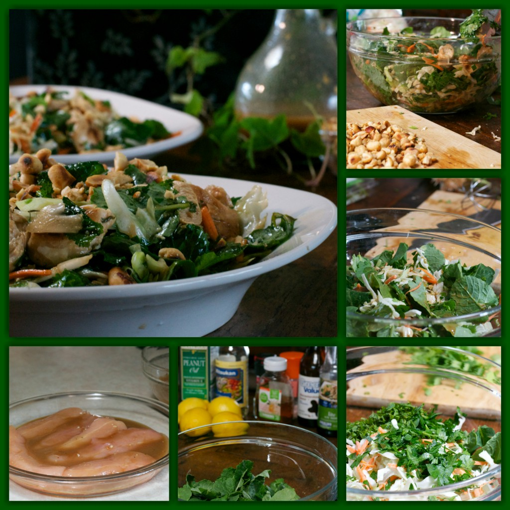 Roasted Peanut Kale Salad Collage